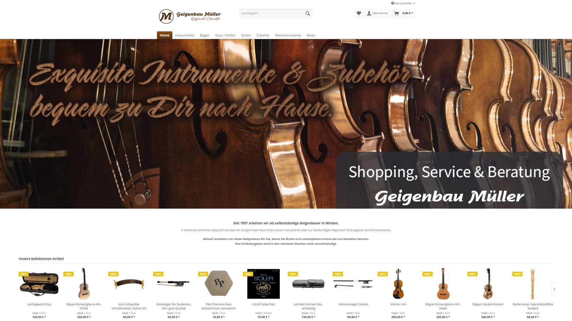 Screenshot: Geigenbau Müller Webshop