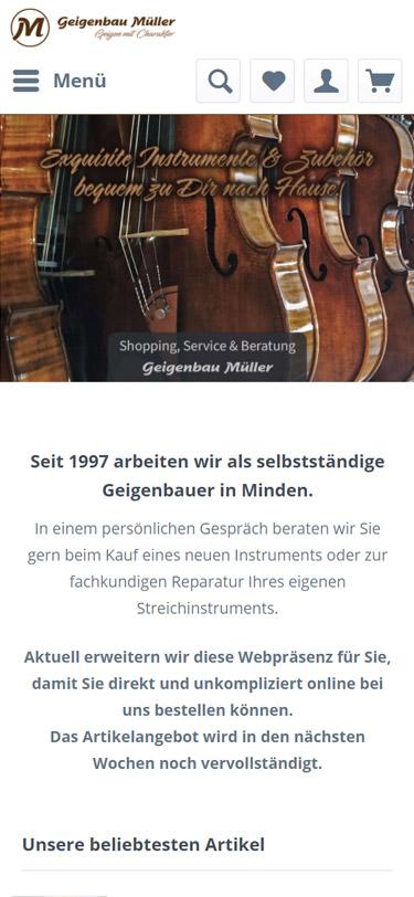 Screenshot: Geigenbau Müller Webshop Mobilansicht