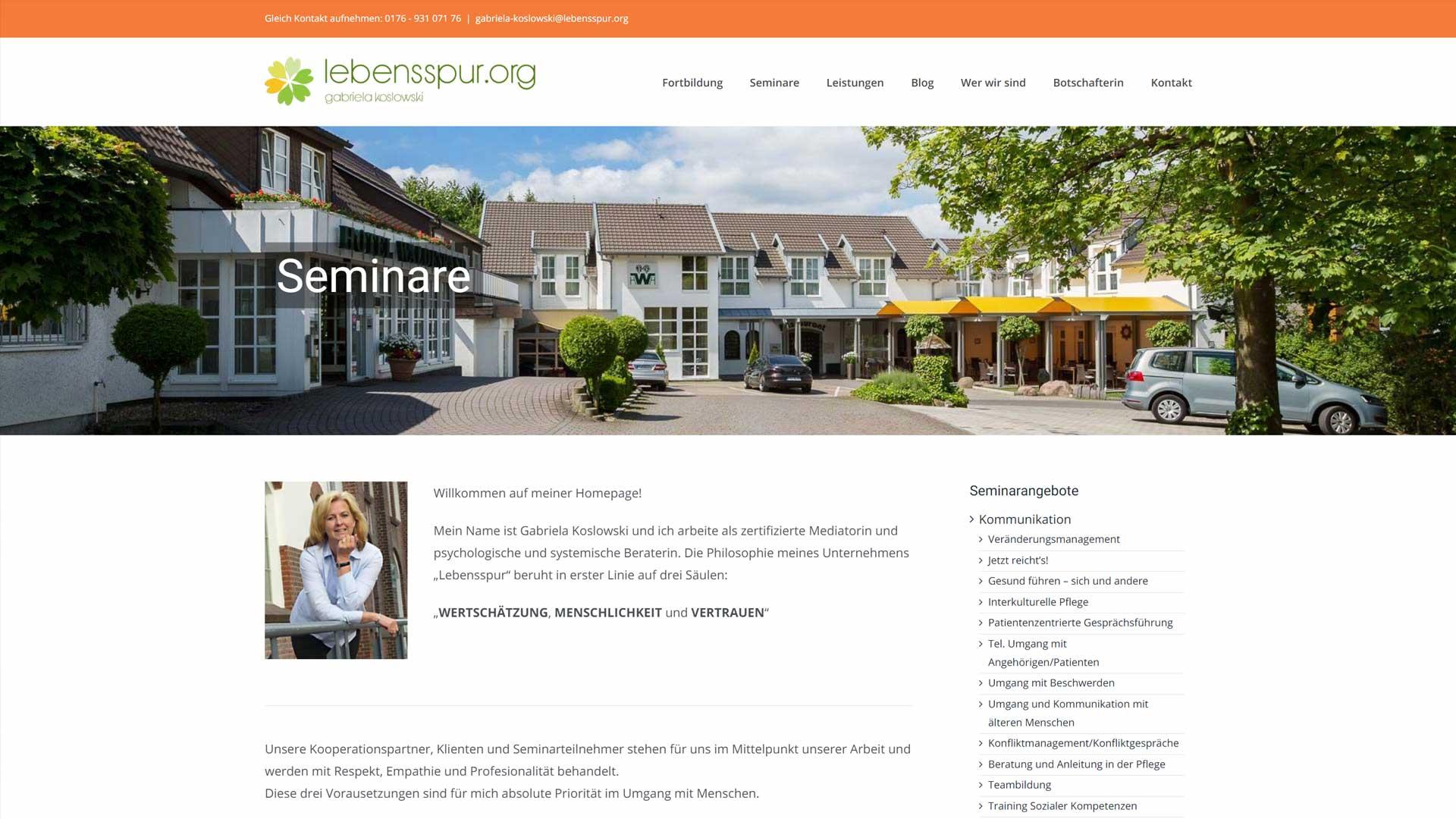 Screenshot: Homepage Lebensspur.org