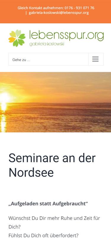 Screenshot Mobil: Homepage Lebensspur.org