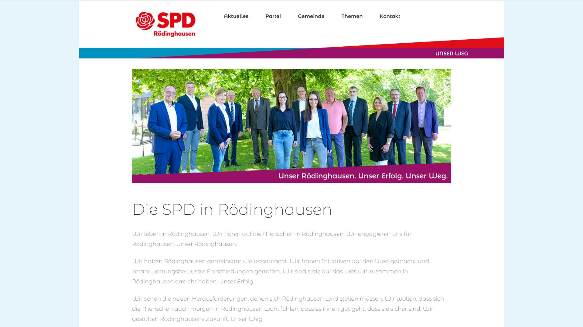 Screenshot: Homepage SPD-Rödinghausen