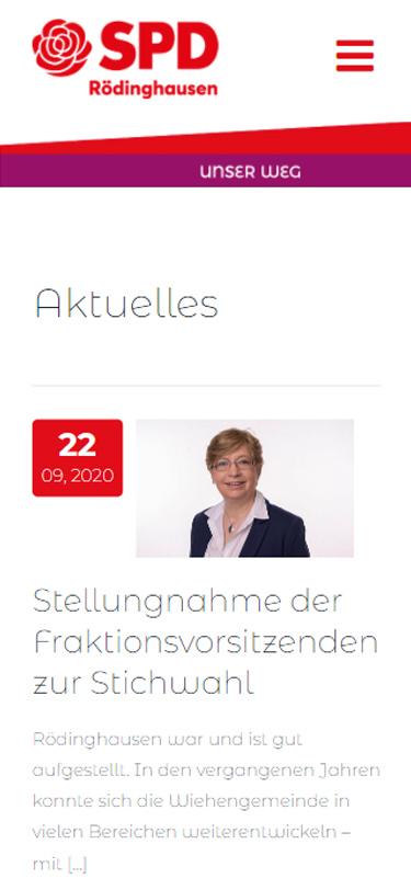 Screenshot Mobil: Homepage SPD-Rödinghausen