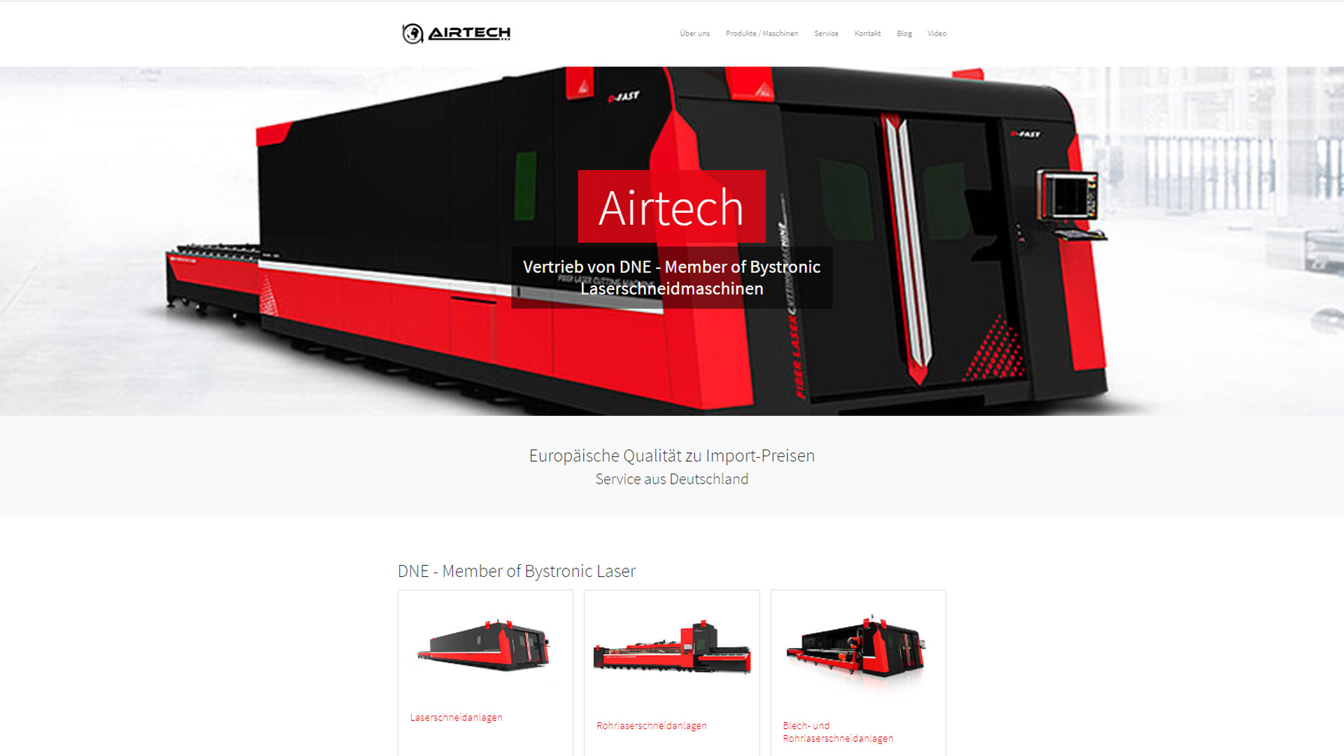 Screenshot: Homepage Airtech DNE Laser
