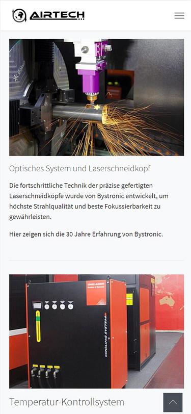 Screenshot Mobilansicht: Homepage Airtech DNE Laser