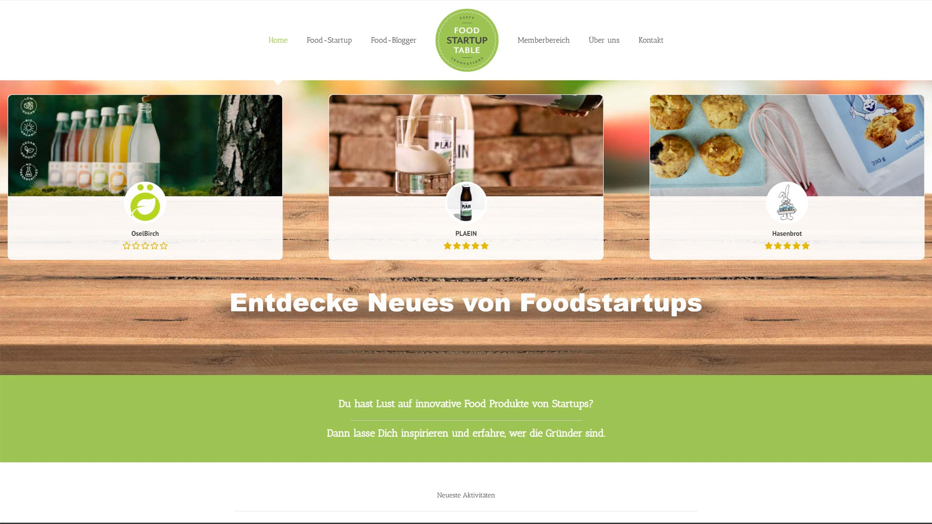 Screenshot: Homepage Foodstartuptable