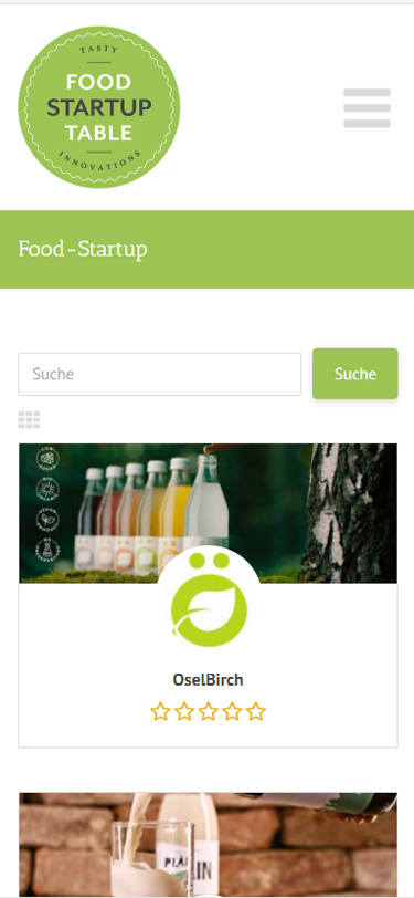 Screenshot Mobil: Homepage Foodstartuptable
